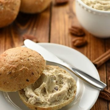 Pecan Praline Honey Butter in bowl and spread on roll.