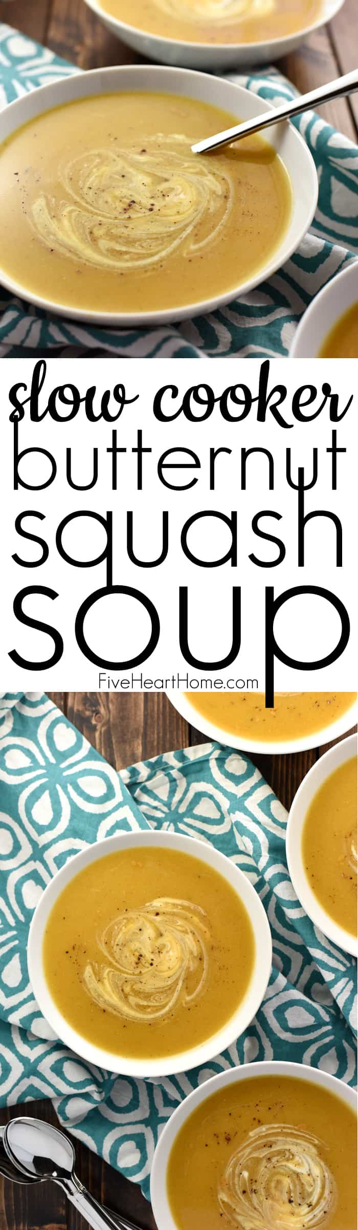 Slow Cooker Butternut Squash Soup ~ silky and delicious, packed with vitamins, and as effortless as tossing frozen butternut squash cubes into the crock pot! | FiveHeartHome.com