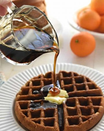 Whole Wheat Gingerbread Waffles ~ tender, fluffy, and perfectly spiced, these wholesome waffles make a festive holiday (or any day) breakfast! | FiveHeartHome.com