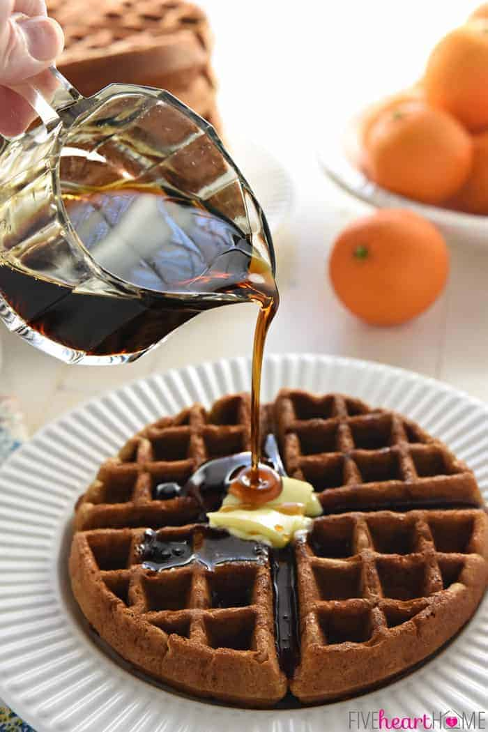 Syrup Pouring Over Gingerbread Waffle Recipes
