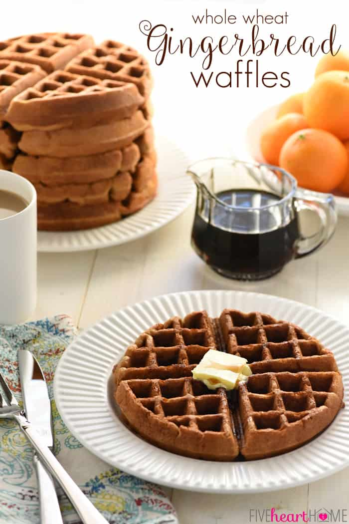 Whole Wheat Gingerbread Waffles ~ tender, fluffy, and perfectly spiced, these wholesome waffles make a festive Christmas (or any day) breakfast! | FiveHeartHome.com