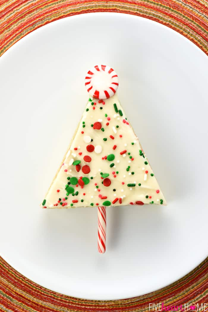 Christmas Tree Sheet Cake Pops Served on White Plate