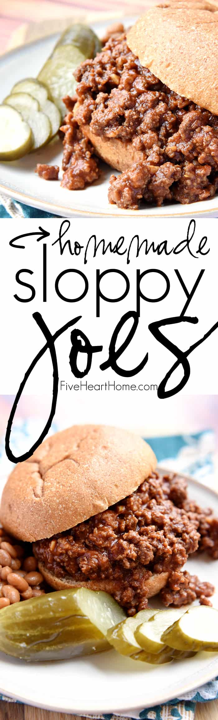 Homemade Sloppy Joes ~ ditch the store-bought can of sauce for these quick and easy, all-natural Sloppy Joes with no additives or preservatives...and they taste better, too! | FiveHeartHome.com