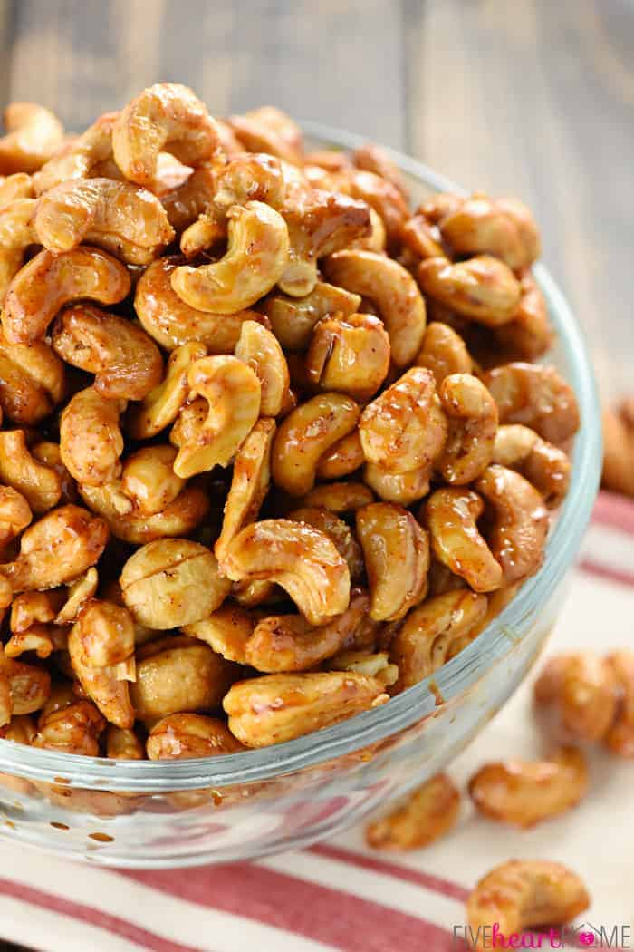 Bowl of Candied Cashews.