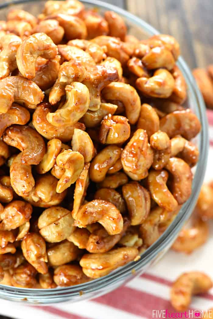 Honey Chipotle Lime Cashews Close-Up in Glass Bowl
