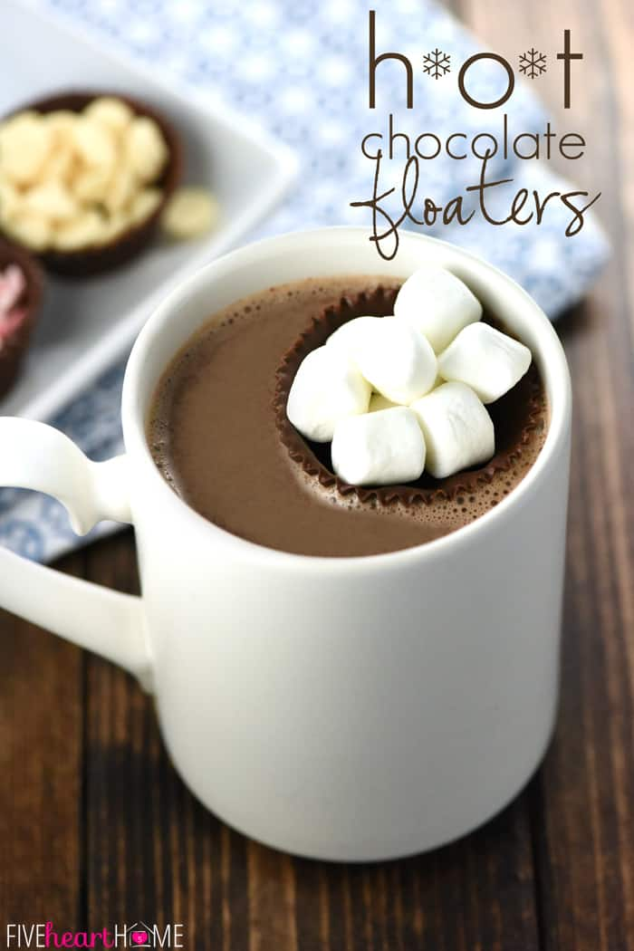 Hot Chocolate Floaters ~ little cups of chocolate make fun and tasty receptacles for marshmallows, whipped cream, or your favorite hot cocoa toppings! | FiveHeartHome.com