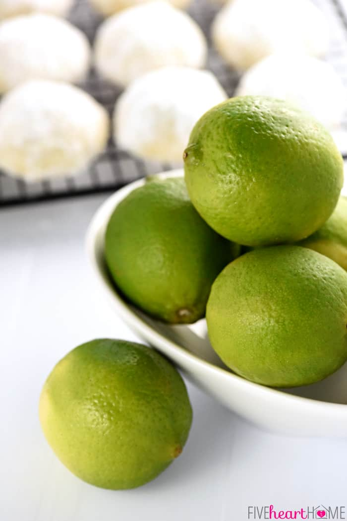 A bowl of fresh limes.