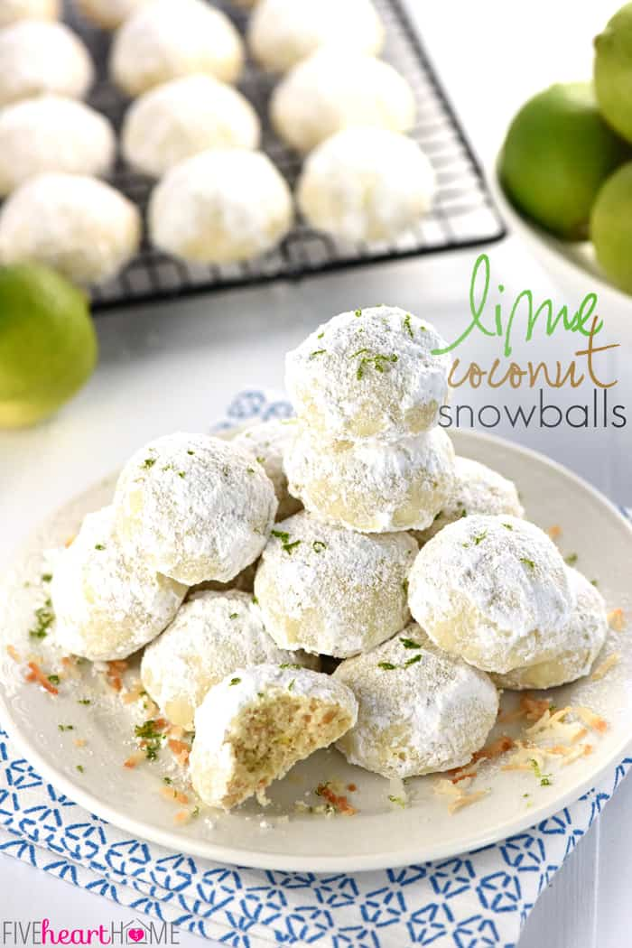 Lime Coconut Snowball Cookies with text overlay