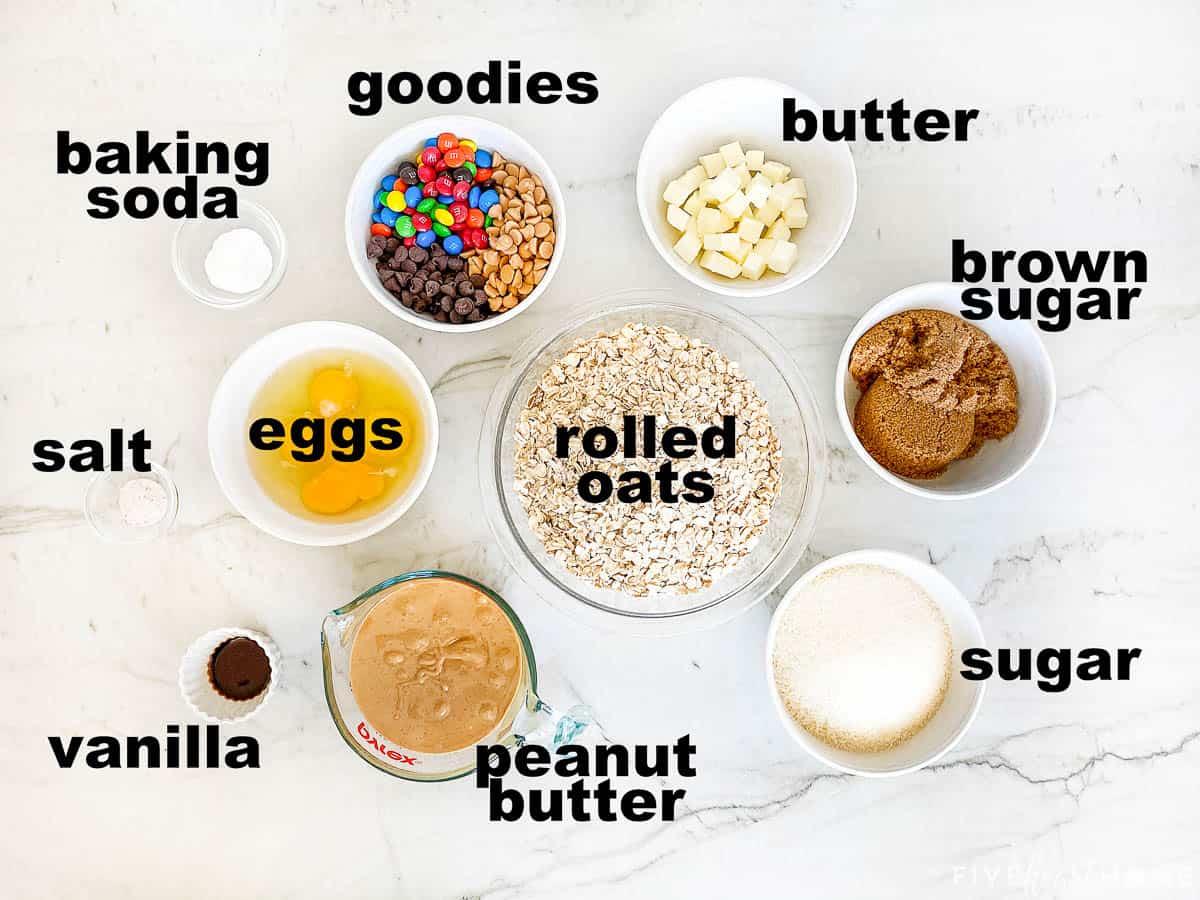 Aerial view of ingredients in bowls.