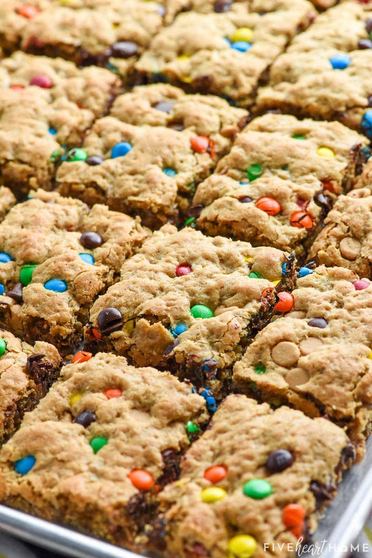 Monster Cookie Bars cut in pan.