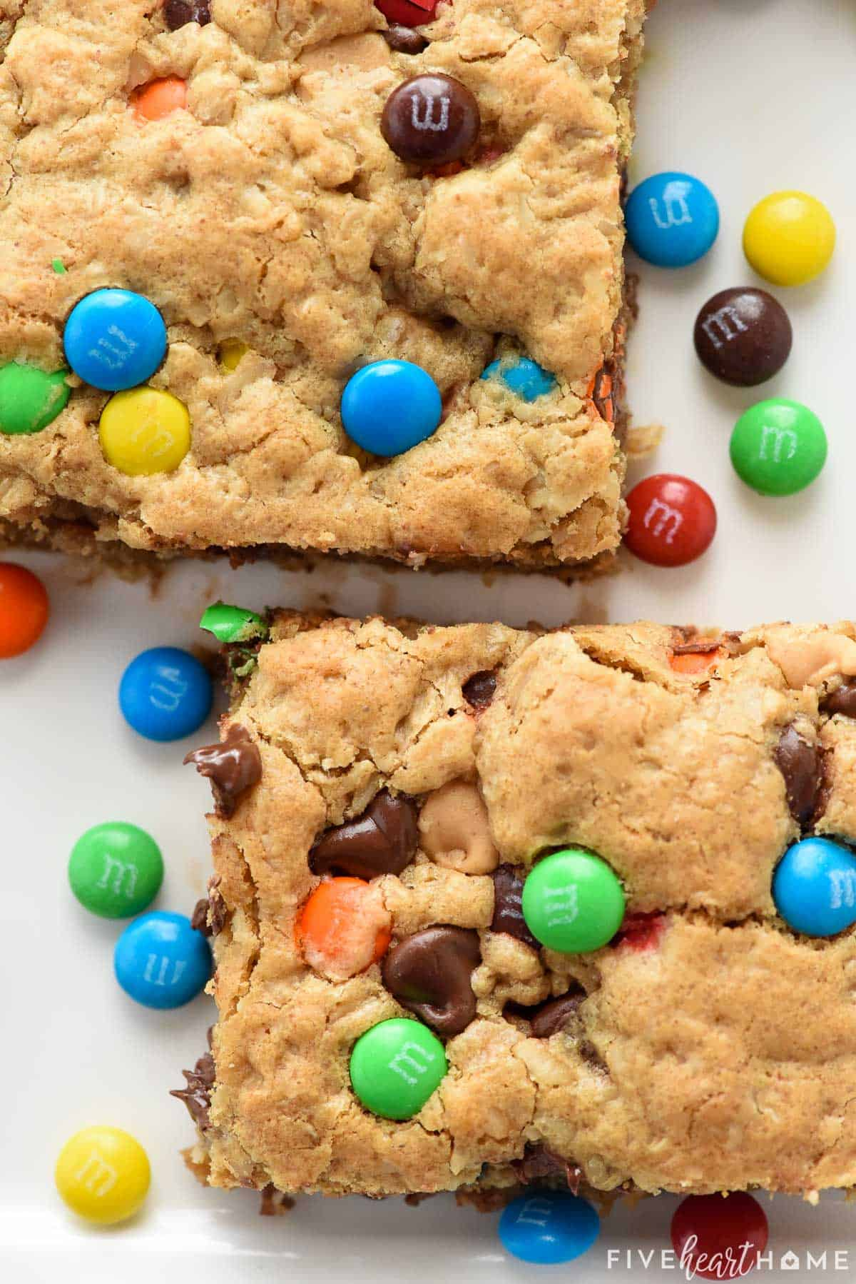 Aerial close-up of two Monster Cookie Bars.