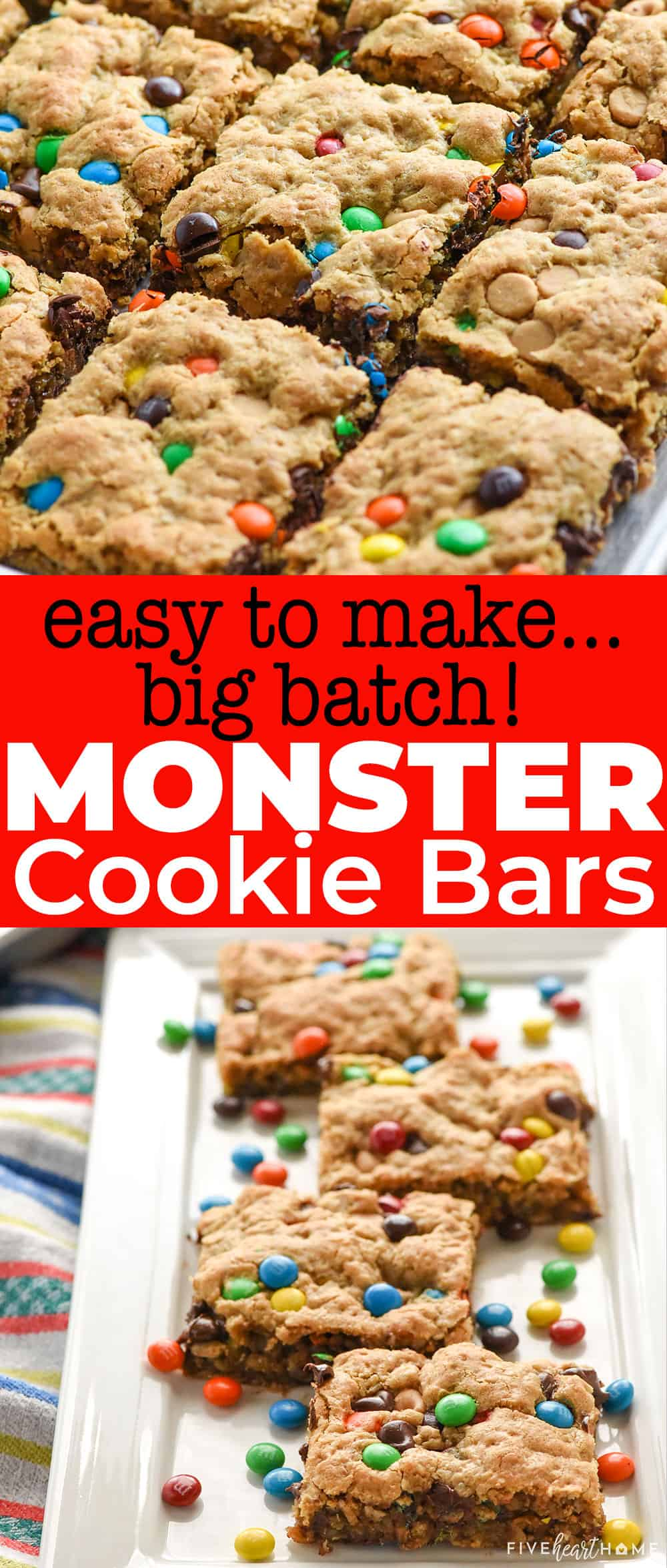 Loaded with oats, peanut butter, and M&M's, these chewy, naturally gluten-free Monster Cookie Bars require only ONE BOWL yet yield a BIG BATCH, making this the perfect quick and easy recipe when you need a bunch of sweet treats for a party or celebration! via @fivehearthome