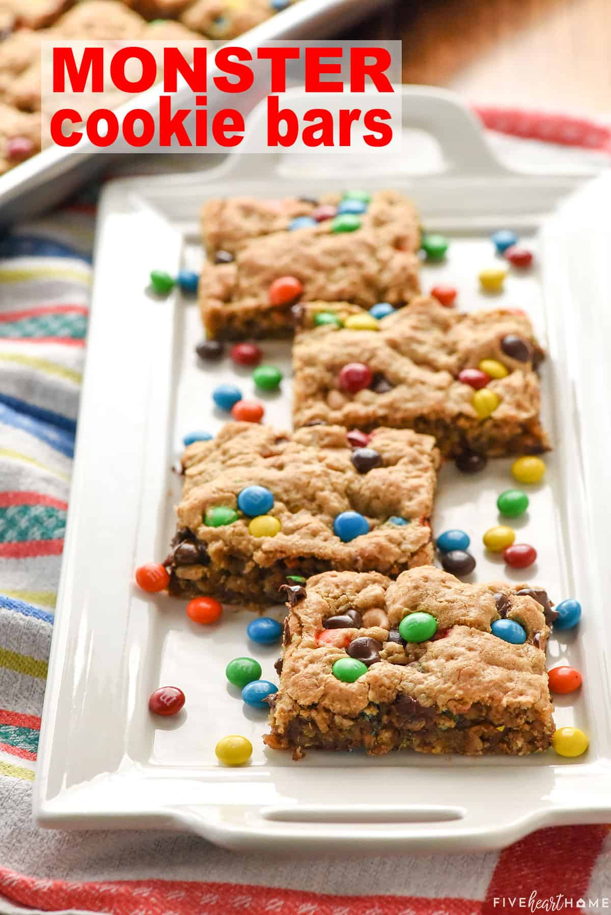 Monster Cookie Bars with text overlay.
