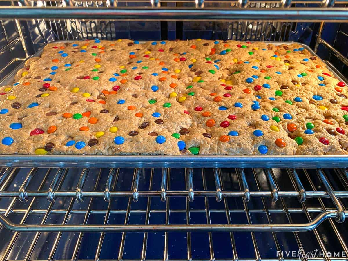 Monster Cooke Bars coming out of oven.
