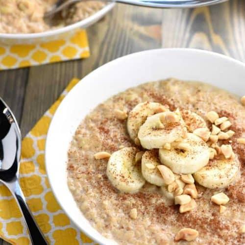 Quick Peanut Butter Banana Oatmeal • FIVEheartHOME