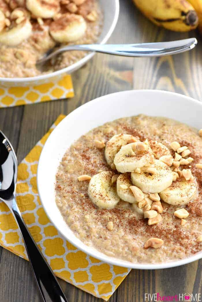 Peanut Butter Banana Oatmeal with Silver Spoon on Decorative Yellow Napkin