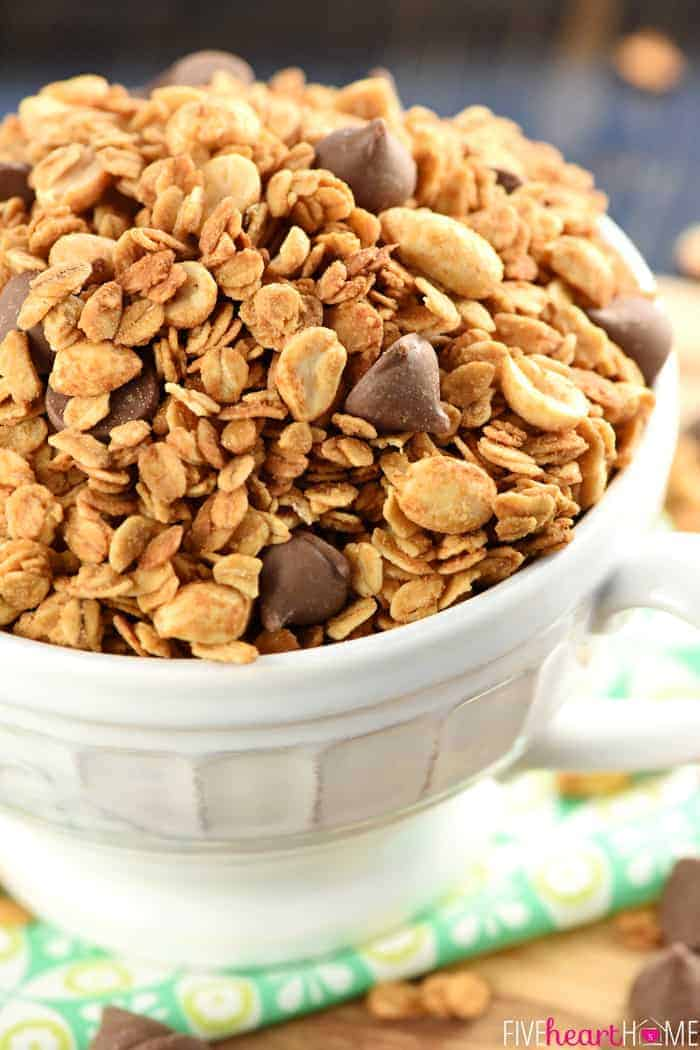Close-Up of 5-Ingredient Peanut Butter Granola