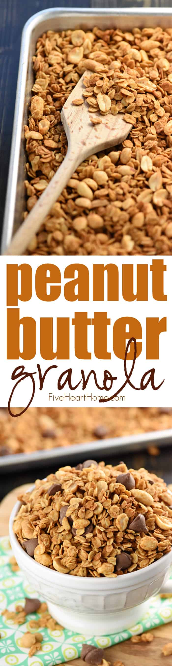 5-Ingredient Peanut Butter Granola ~ a quick and easy recipe that makes a wholesome, yummy breakfast, snack, or even dessert, dressed up with a handful of chocolate chips! | FiveHeartHome.com