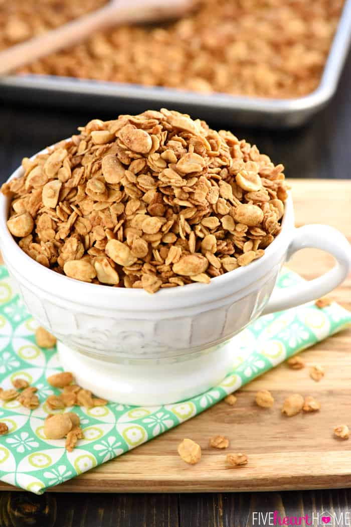 5-Ingredient Peanut Butter Granola In a Large Decorative Mug with Handle