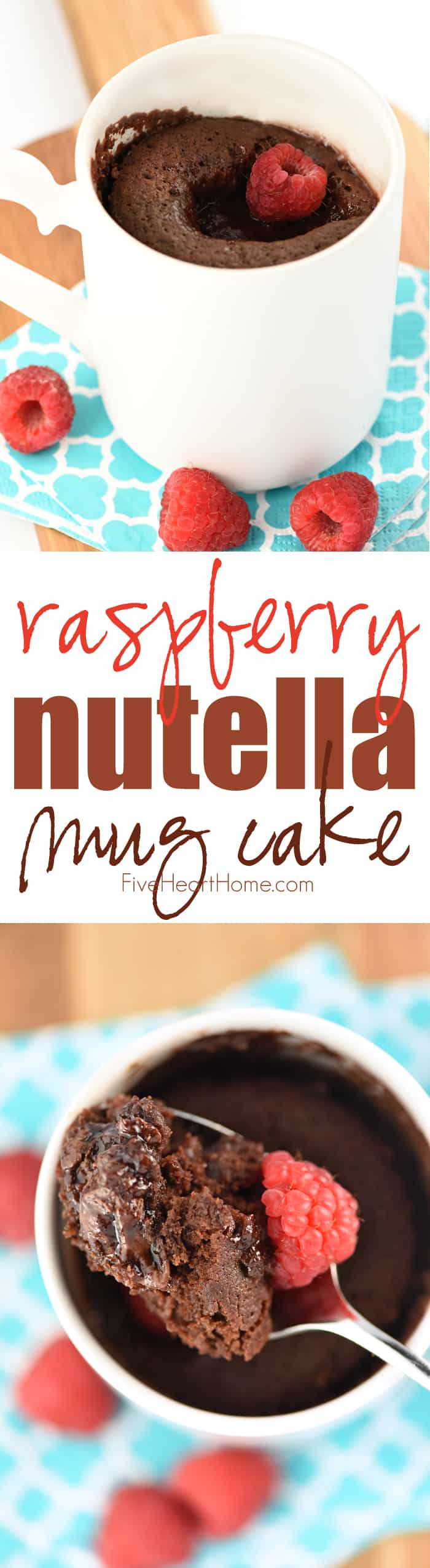 Raspberry Nutella Mug Cake ~ fluffy chocolate cake with a molten center of Nutella and raspberry preserves...and best of all, it's portion-controlled and ready to eat in just a few short minutes! | FiveHeartHome.com