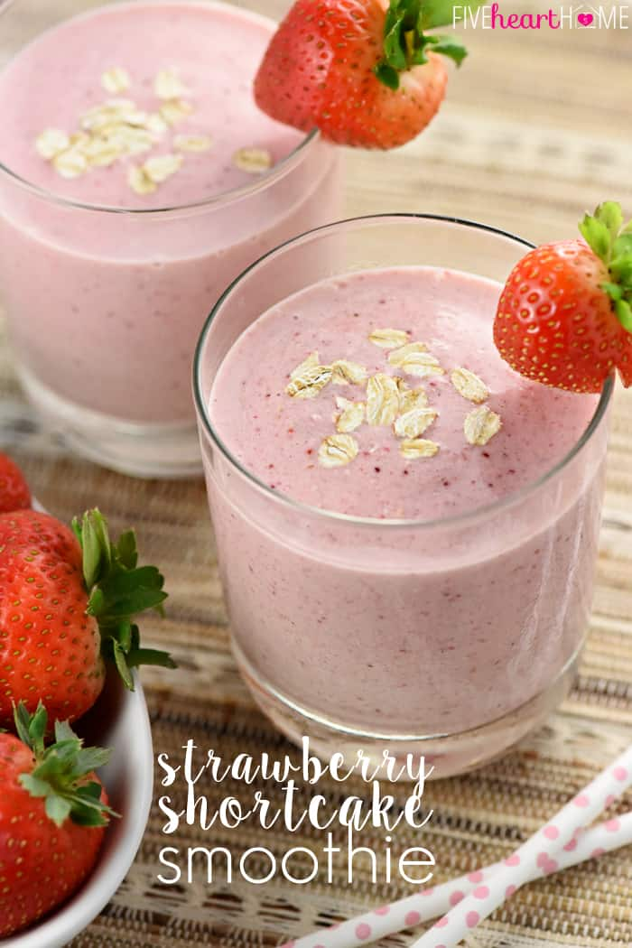 Strawberry Shortcake Smoothie with Text Overlay