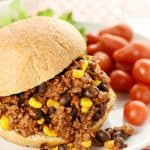 Tex-Mex Sloppy Joes ~ this zesty twist on classic sloppy joes is jazzed up with salsa, taco seasoning, black beans, and corn! | FiveHeartHome.com