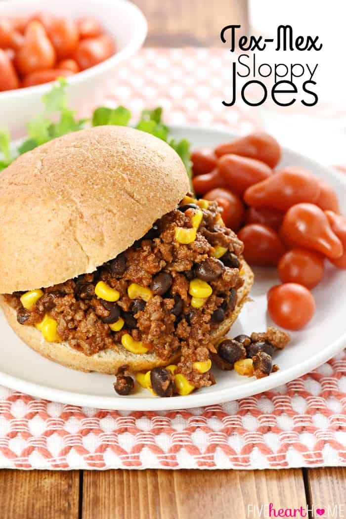 Taco Sloppy Joes with text overlay