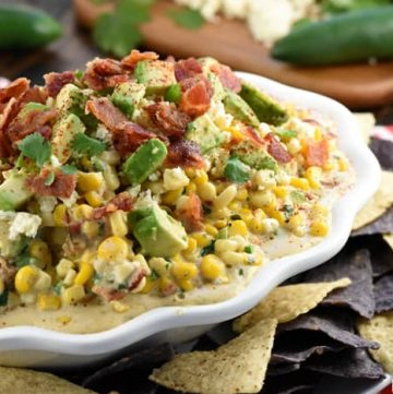 Ultimate Mexican Street Corn Dip ~ warm, creamy, and loaded with a mouthwatering combo of ingredients...corn, cotija cheese, avocado, bacon, jalapeños, cilantro, and chipotle chile powder for the perfect amount of smoky heat...ideal for Superbowl, game day, or just about any party or get-together! | FiveHeartHome.com