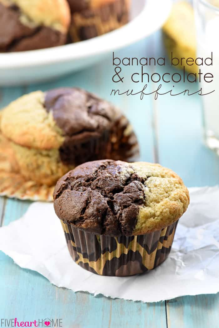 Bakery Style Chocolate Banana Muffins Fivehearthome