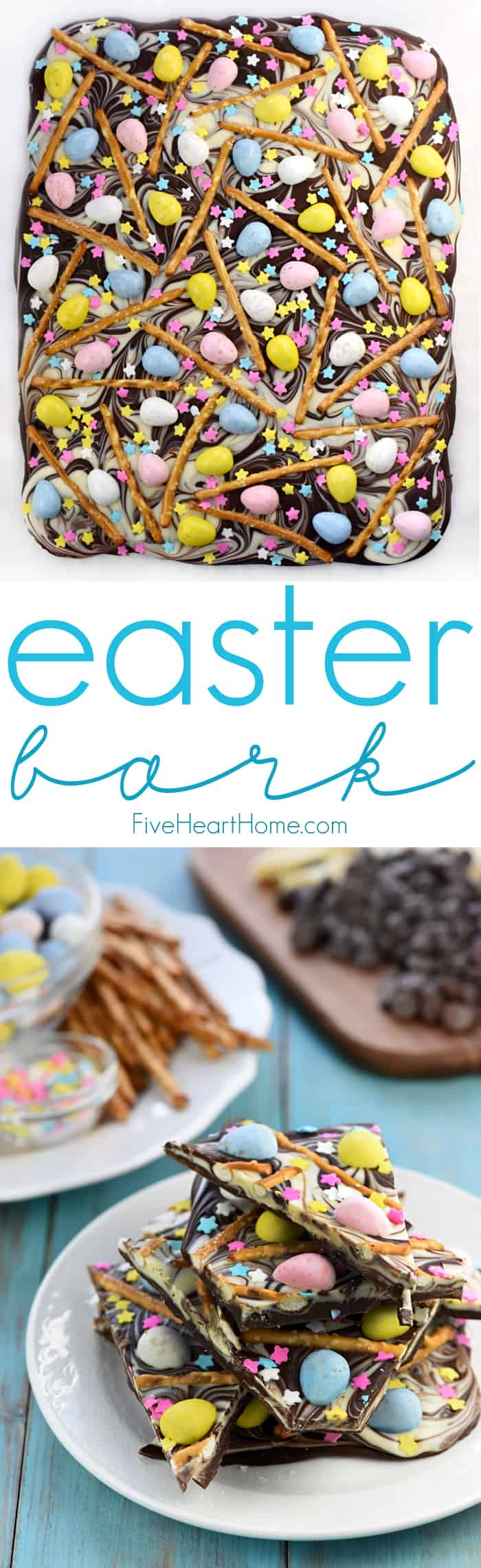Easter Bark with Chocolate Eggs + Pretzels ~ a simple, festive, spring treat featuring swirled chocolate topped with mini chocolate eggs, pretzels, & pastel sprinkles! | FiveHeartHome.com