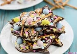 Easter Egg Pretzel Chocolate Swirl Bark