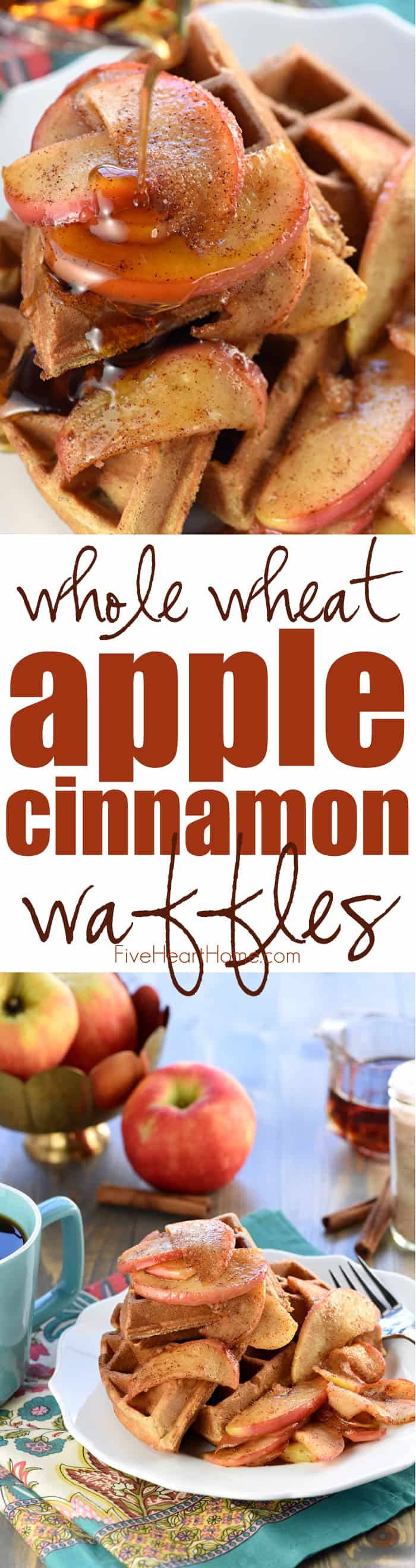 Whole Wheat Apple Cinnamon Waffles ~ crisp on the outside and fluffy on the inside, these waffles are perfectly spiced and bursting with chunks of sweet, tender apples...and as a bonus, they make your whole house smell heavenly as they bake! | FiveHeartHome.com