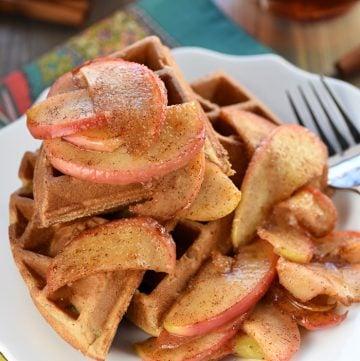 Whole Wheat Apple Cinnamon Waffles on a plate