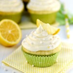 Lemon Cupcakes with Lemon Cream Cheese Frosting and candied lemon on top.