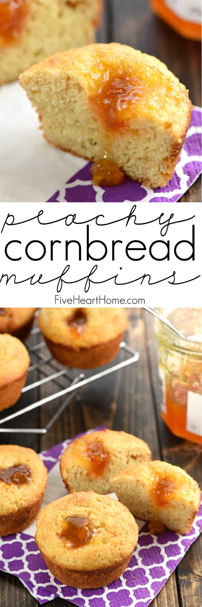Peachy Cornbread Muffins with Collage and Text Overlay