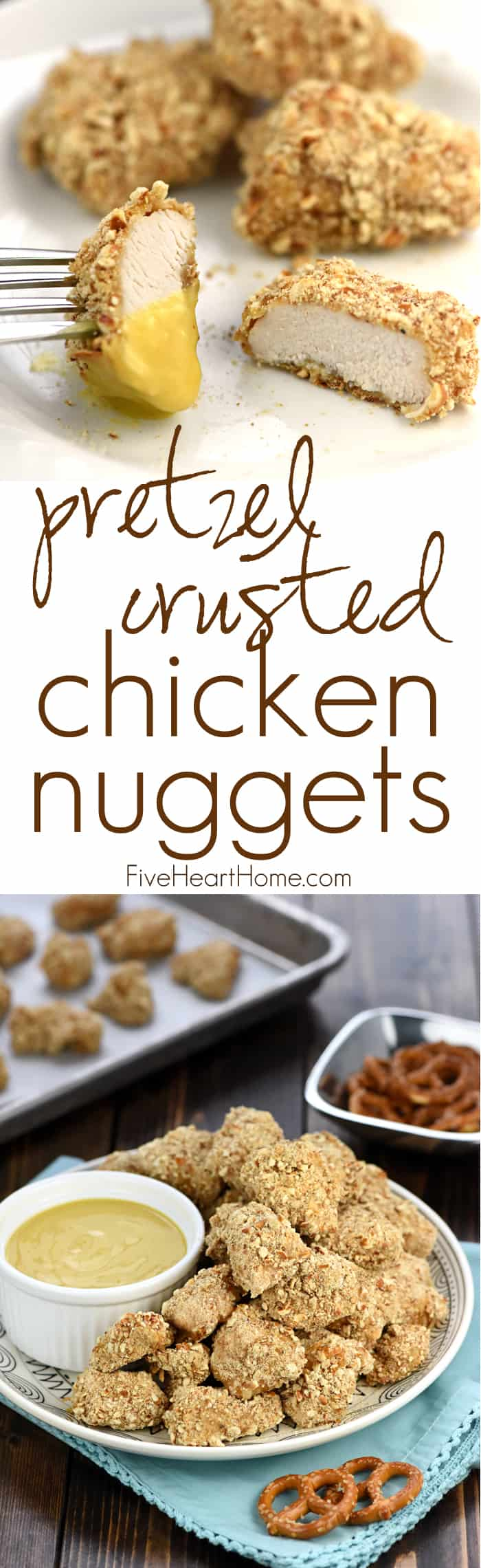 Pretzel-Crusted Chicken Nuggets with Honey Mustard Dipping Sauce ~ tender, juicy nuggets are baked to perfection and served with a lightened-up, Greek yogurt-based sauce for a simple, yummy, family-pleasing dinner! | FiveHeartHome.com