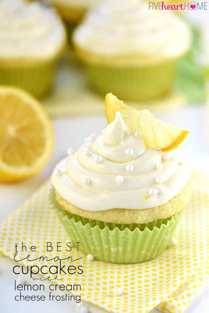 The BEST Lemon Cupcakes with text overlay.