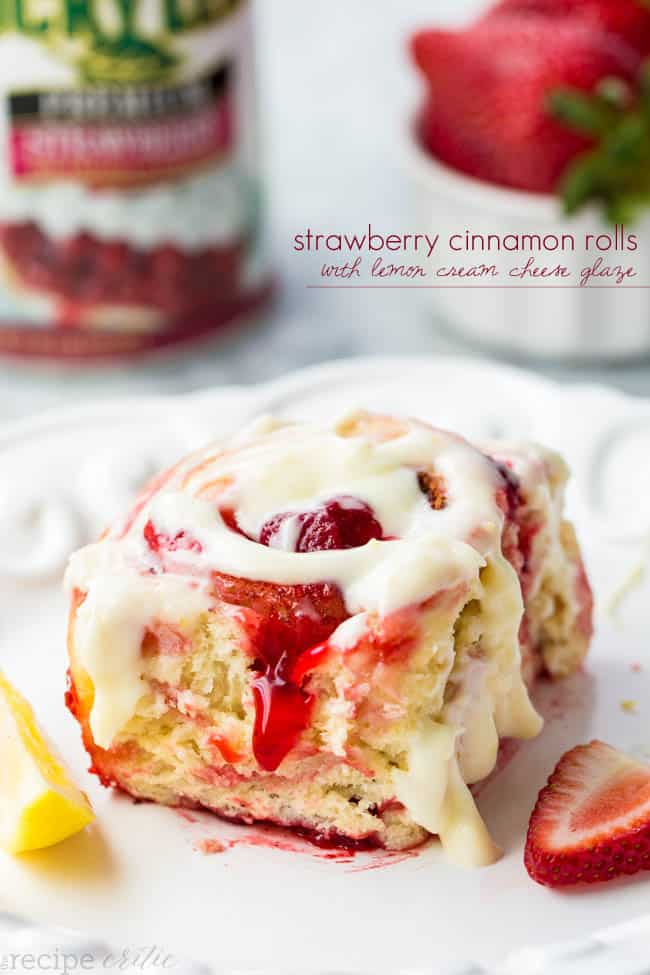 Strawberry Cinnamon Rolls with Lemon Cream Cheese Glaze