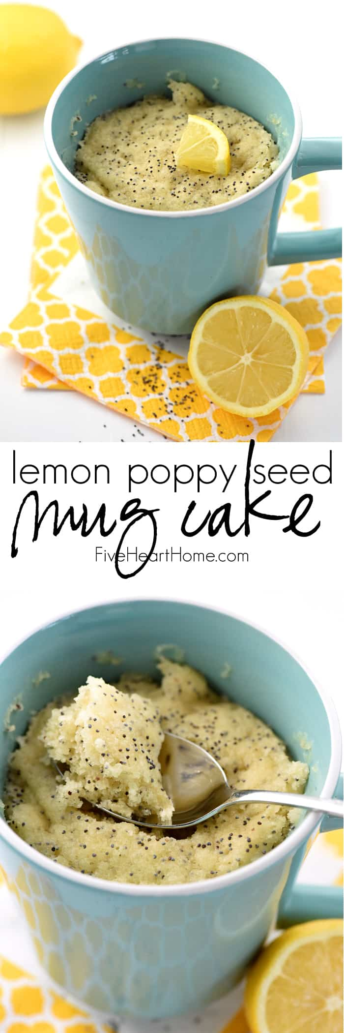Lemon Poppy Seed Muffin Mug Cake Collage with Text Overlay