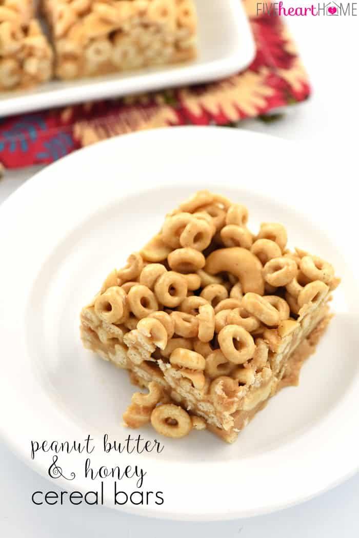 Peanut Butter & Honey Cereal Bars ~ whole grain toasted oat cereal (AKA, Cheerios), chopped nuts, peanut butter, coconut oil, and honey are combined, pressed into a pan, and chilled for no-bake breakfast bars that also make a tasty snack! | FiveHeartHome.com