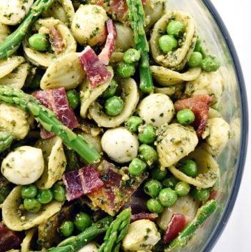 Pest Pasta Salad aerial in glass bowl.