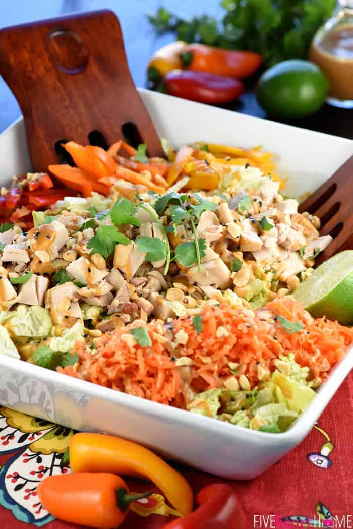 Thai Chicken Chopped Salad with Peanut Dressing in a White Serving Platter