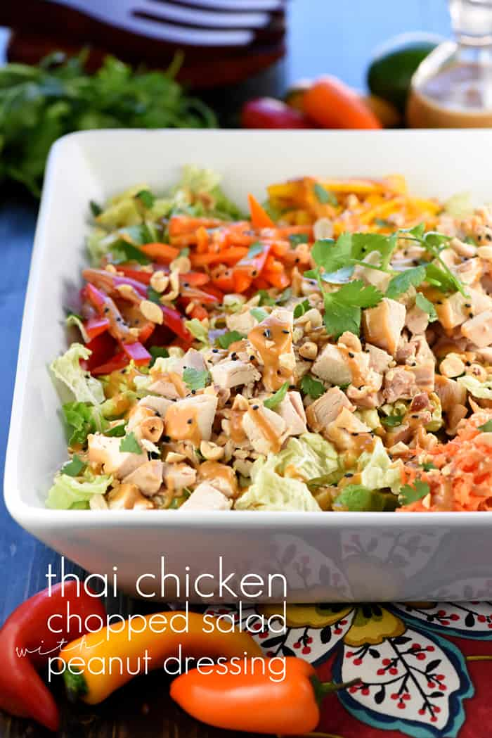 Thai Chicken Chopped Salad with Peanut Dressing with Text Overlay