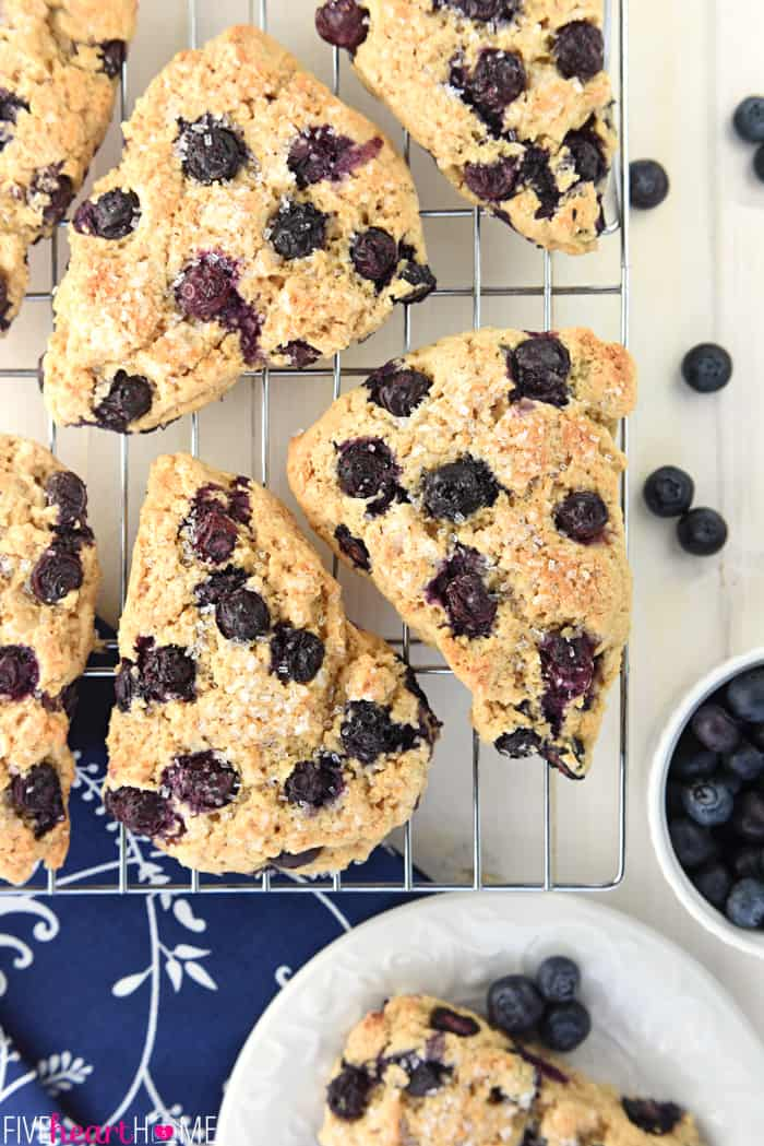 Aerial View of Whole Wheat Greek Yogurt Blueberry Scones on Wire Cooling Rack