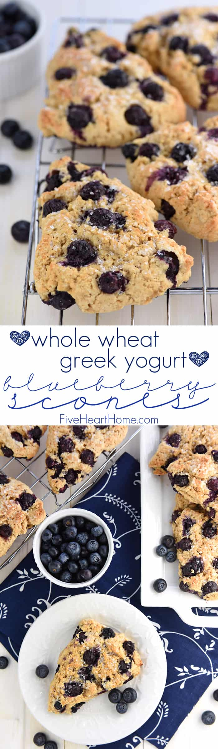 Whole Wheat Greek Yogurt Blueberry Scones Collage with Text Overlay