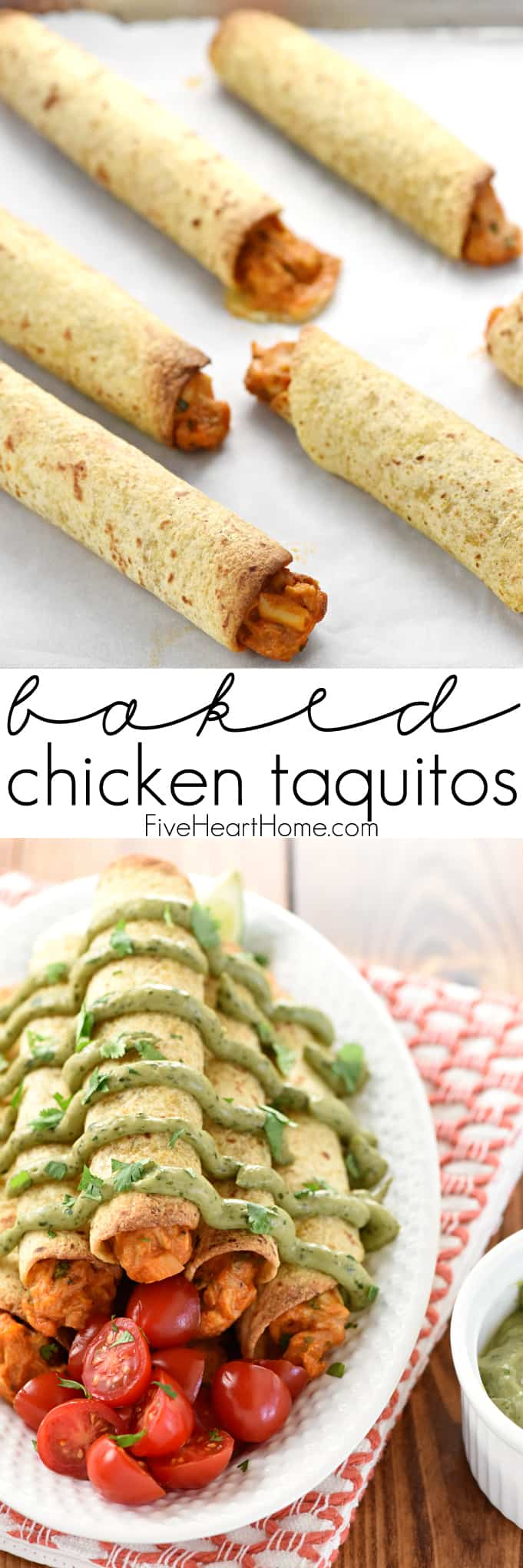 Baked Chicken Taquitos with Avocado Cilantro Dipping Sauce Collage with Text Overlay