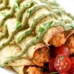 Baked Chicken Taquitos with Avocado Cilantro Dipping Sauce ~ quick and easy, creamy, zesty taquitos are guaranteed to be a hit with kids and adults alike! | FiveHeartHome.com