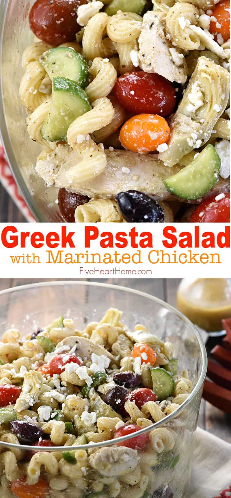 Greek Pasta Salad with Chicken, collage with text