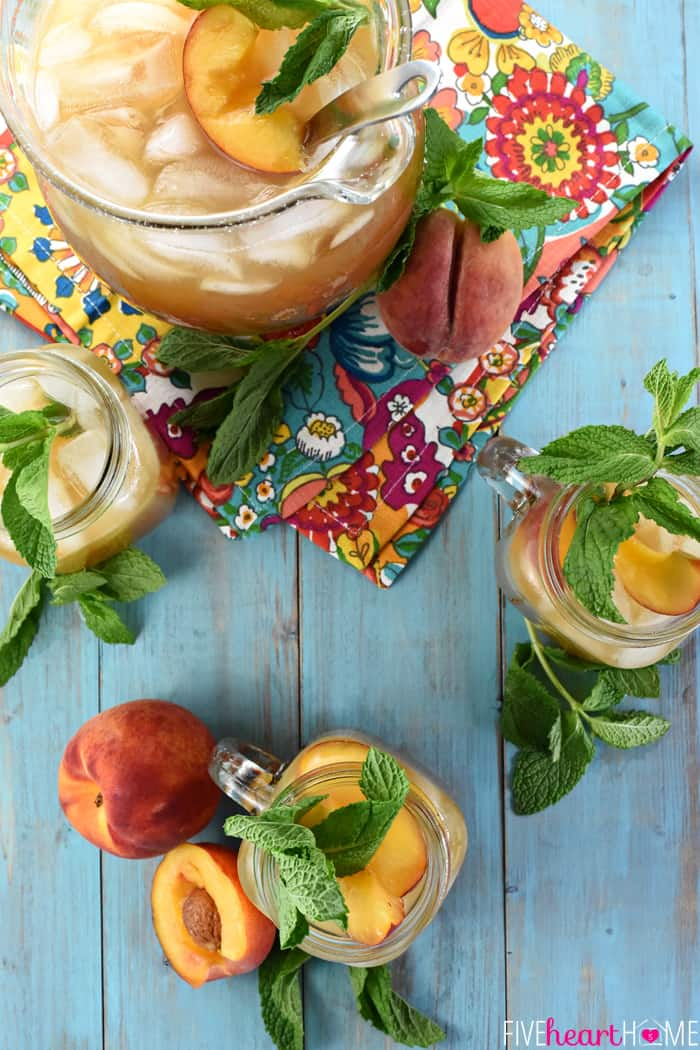 Aerial View of Pitcher Mason Jars Minty Peach Tea Punch