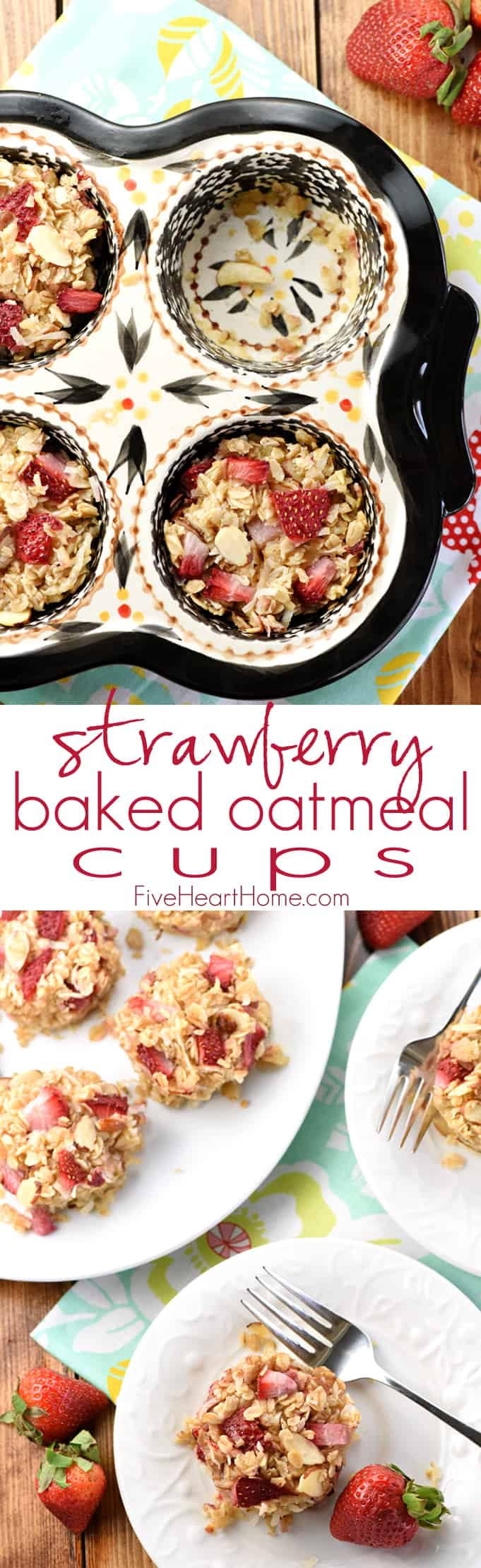 Strawberry Baked Oatmeal Cups Collage with Text Overlay